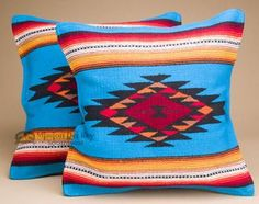 Pair of Old Style Southwestern Pillow Covers 18x18 - Zuni Turquoise