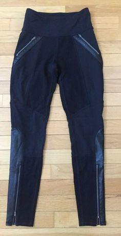 2f0cb94dd Women s Athleta Stretch Black Legging Pants XS Zip Pockets Faux Leather  Trim  fashion  clothing