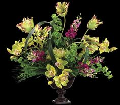 Silk tropical flowers including artificial snapdragon and bells of this gorgeous 24 tall artificial flowers arrangement with tulips orchids and bell flowers one mightylinksfo