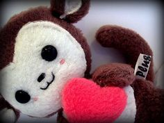 Beautiful Marvin the baby monkey plushie  Comes with a big plush heart and a smile !  Brilliant as a gift to loved ones ... Or if hes too adorable to give away, Yourself!    Measures - 4.5 x 5 inches  Made from Fleece, Thread, Filling, Safety eyes and Love!    NOTE: Due to plastic eyes, this toy is not suited for children under 3 years.    -Each item is handmade, so every one will be slightly different-