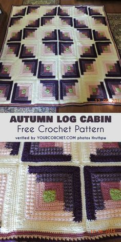 Autumn Log Cabin Throw Free Crochet Pattern. This is a beautiful pattern which gives lots of possibilities for personalization. Use hues that match your interior to get the most magnificent effect. Easy pattern for afghan, blanket. #freecrochetpatterns #crochetblanket #mosaic #crochetpattern