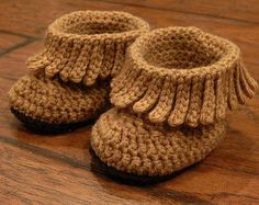 Baby Boots, Baby Western Booties Shabby Chic Fringe Turquoise and Brown Baby Western Boots, Cowboy Boots, Fringe Boots, Baby moccasin boots - # Crochet Baby Boots, Newborn Crochet, Crochet Slippers, Crotchet Baby Shoes, Crochet Baby Blanket Beginner, Baby Knitting, Baby Patterns, Crochet Patterns, Moccasin Boots