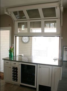 Interior view of garage door kitchen