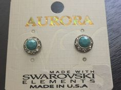 Earrings Silver Tone Round Swarokvski Crystals Turquoise Post Butterfly E263T #Aurora #Stud