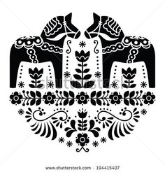 Swedish Dala or Daleclarian horse floral folk pattern in black and white by RedKoala #sweden