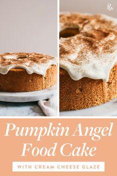 Pumpkin Angel Food Cake with Cream Cheese Glaze 500 calories Cream Cheese Glaze, Cake With Cream Cheese, Baking Recipes, Cake Recipes, Dessert Recipes, Fall Desserts, Just Desserts, Mugcake Recipe, Pumpkin Recipes