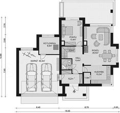 Projekt domu APS 266+2G 146,4 m2 - koszt budowy - EXTRADOM Dream House Plans, Design Case, Modern House Design, Plane, Villa, Floor Plans, How To Plan, Kitchen, Home Decor