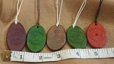 Genuine leather Pendants from Leathers by Juanita are all hand made and one of a kind. Stock will change frequently. Order using corresponding numbers. Made in Calgary, Alberta Canada.
