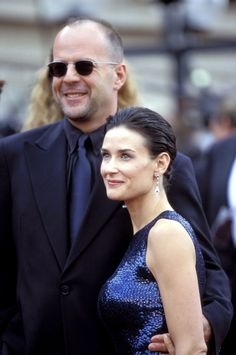 Bruce and Demi Moore at the Emmy Awards, 1997