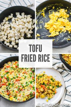 Tofu fried rice is hearty Asian-inspired dish that is filled with hearty protein and veggies. This tofu recipe is fun to make and so flavorful! Vegetarian Fried Rice, Vegetable Fried Rice, Fried Vegetables, Veggies, Delicious Vegan Recipes, Vegetarian Recipes, Healthy Recipes, Free Recipes, Vegetarian Appetizers