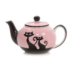 """Hues N Brews """"Cats with Attitude"""" Pink Teapot"""