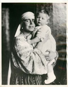 Queen Maria of Romania with her grandson, Michael.