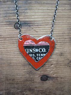 vintage recycled tin heart necklace