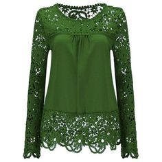 Solid Color Lace Spliced Hollow Out Blouse ($13) ❤ liked on Polyvore featuring tops, blouses, lacy blouses, lace top, lacy top, lace blouses and green blouse