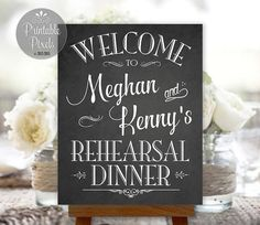 Rehearsal Dinner Sign Welcome Chalkboard Printable Personalized with Names - Printable Pixels