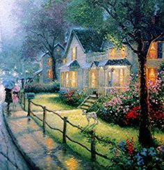 Dbl Signed Hometown Memories s N Limited Thomas Kinkade Canvas Norman Rockwell Christmas, Norman Rockwell Art, Venice Painting, City Painting, Classic Paintings, Beautiful Paintings, Thomas Kinkade Art, Kinkade Paintings, Thomas Kincaid