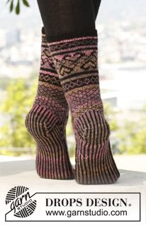 Knitted DROPS socks with pattern in Knitting Patterns Free, Free Knitting, Free Pattern, Drops Design, Knitting Accessories, Knitted Shawls, Knit Or Crochet, Knitting Socks, Bunt