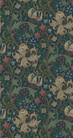 Golden Lily Indigo tapet från William Morris Co - Tapetorama William Morris, Lily Wallpaper, Molduras Vintage, Therapy Office Decor, Tudor Cottage, Art Chinois, Morris Wallpapers, Living Room Redo, Art Japonais