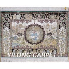 Yilong 3'x4.5' Persian silk area carpet handiwork earth hunting tapestry rug (0016)