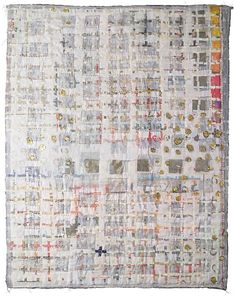 Two Sides to Every Story (front) by Jane E. Dunnewold - 44 x 56 inches Hand embellished, hand quilted, laminated and printed Quilts Japan Prize