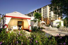 Private cabanas by the pool at River Island at Holiday Inn Club Vacations at Orange Lake Resort.