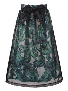 Emerald Green and Black Organza Overlay Leaf Midi Skirt Holiday Fashion | Choies