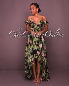 0b986a35ad14 Lareina Black Multi-color Print Ruffle High-Low Maxi Dress