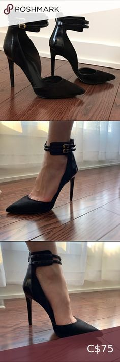ALDO Stiletto Heels Beautiful closed toe stiletto heels with strap accents. Very classy and goes with any outfit. Black Stiletto Heels, Gold High Heels, Black Stilettos, Pumps Heels, Aldo Heels, Plus Fashion, Fashion Tips, Fashion Trends, Strap Heels