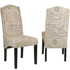 Cortesi Home Miller Beige Script Fabric Dining Chair (Set Of 2) By Cortesi  Home
