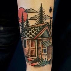Cabin Tattoo by Dane Mancini See Tattoo, Tattoo You, Best Sleeve Tattoos, Cool Tattoos, Cabin Tattoo, Oldschool Tattoos, Traditional Style Tattoo, Tatuagem Old School, Time Tattoos