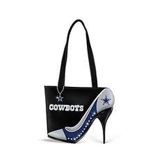 Dallas Cowboys Women's Handbag with Stiletto Heel ($100) ❤ liked on Polyvore featuring bags, handbags, tote handbags, glitter purse, shoulder handbags, purse tote and metallic handbags