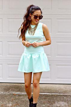 { @shoptobi mint dress + chain bib necklace // #shoptobi }