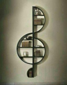 Music shelf Creative Bookshelves, Bookshelf Design, Floating Bookshelves, Bookshelf Plans, Bookshelf Ideas, Decorating Bookshelves, Shelving Ideas, Hallway Decorating, Open Shelving