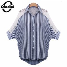 Plus Size Women Chiffon Blouse Lace Shirt Turn Down Collar Stripe Tops Female Batwing Sleeve Big Size Clothing XXXXXL XL XXL *** AliExpress Affiliate's Pin. Find similar lovely pieces on AliExpress website by clicking the VISIT button Women's Striped Shorts, Blue And White Striped Shirt, Striped Tops, Striped Shirts, Striped Cardigan, Blue Lace, Plus Size Blouses, Plus Size Tops, Plus Size Women