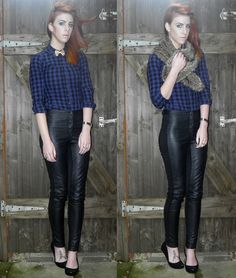 Checked shirt: H  Faux leather trousers: H  Faux fur stole: New Look  Glitter bow tie: Accessorize