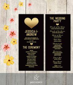 Wedding Program Printable / Faux Metallic Gold Foil / Gold Heart / Black and Gold Wedding Party Schedule / Ceremony Program ▷Printable PDF