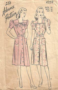 Advance 4259 Vintage 40s Sewing Pattern Dress by studioGpatterns, $12.50