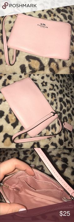Baby pink authentic coach wristlet Super cute baby pink coach wallet Coach Bags Clutches & Wristlets