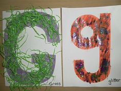 G is for green grass and glitter