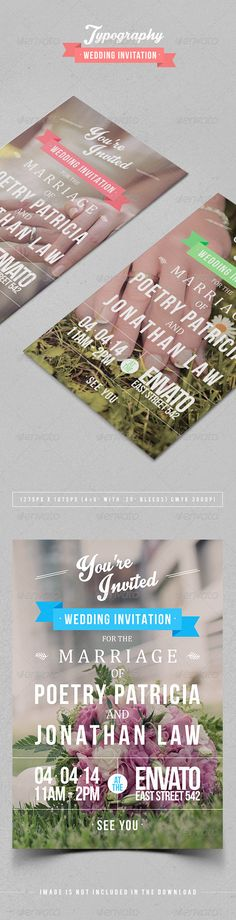 Typography Wedding Invitation — Photoshop PSD #the #wedding • Available here → https://graphicriver.net/item/typography-wedding-invitation/7104631?ref=pxcr