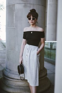 Off-the-shoulder top and button-through skirt