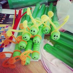 Caterpillar bubblewands instead of lolly bags