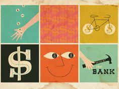 Creative Illustration, Bankin, Icon, Sillo, and Symbol image ideas & inspiration on Designspiration Creative Illustration, Digital Illustration, Retro Illustration, Vintage Designs, Retro Vintage, Visual Metaphor, Web Inspiration, Retro Futurism, Illustrators