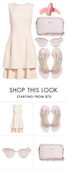 """."" by thatemo-anons ❤ liked on Polyvore featuring Oscar de la Renta, Sophia Webster, Le Specs, GUESS and Elizabeth Arden"