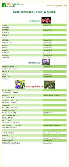 Guía de siembra mes de NOVIEMBRE www.elangreen.com
