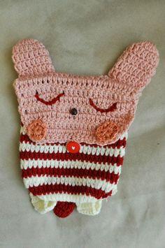 crochet bunny backpack.