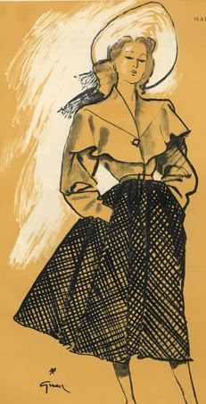 Fashion illustration by  René Gruau, 1945, Mad Carpentier.