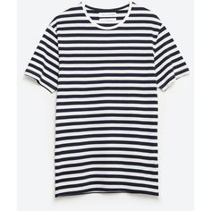 Zara Striped T-Shirt ($18) ❤ liked on Polyvore featuring men's fashion, men's clothing, men's shirts, men's t-shirts and white