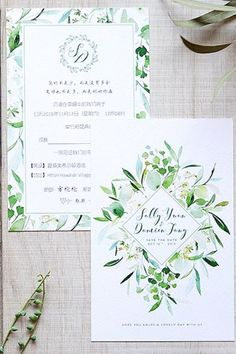 rustic chic green wedding invitations/ elegant spring wedding invitations/ stylish wedding invitations