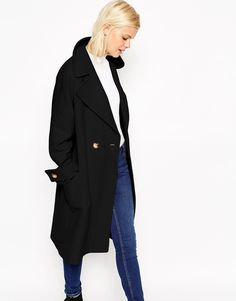 Image 1 ofASOS Coat in Oversized Fit with Patch Pockets